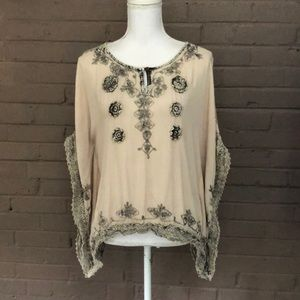 World Market Beige Embroidered Poncho Top S